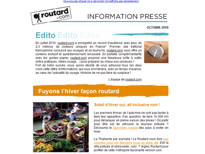 Visuel de la newsletter du Guide du routard