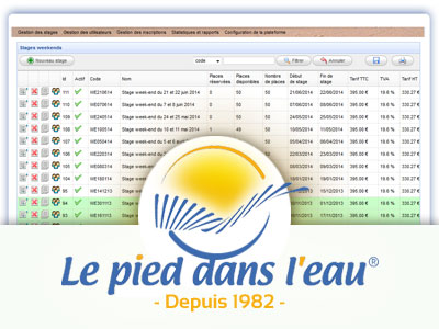 Visuel du back office du sie PDE